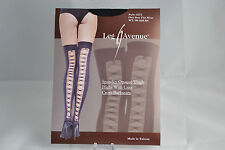 Leg Avenue Criss Cross Seamed Black Opaque Stockings Thigh Highs