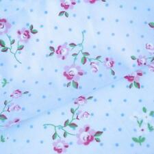 Lucy Dot-de algodón azul floral Tela Shabby Vintage Chic Fashion