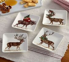 Pottery Barn Silly Stag Yuletide Appetizer Plates Set/4 New Christmas Deer Buck