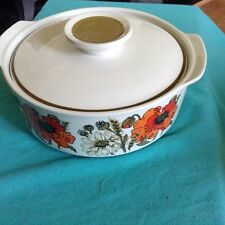 Studio J & G Meakin Poppy ,Vintage Retro 70s serving dish with Lid