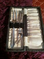 Pair of antique silver plate 2 prong forks cased EPNS