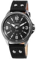 Herrenuhr Schwarz Analog Metall Leder Datum Armbanduhr Quarz D-60463614374750