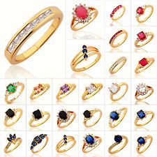 24K Gold Plated Diamond Simulated Womens Engagement Party Wedding Jewelry Rings