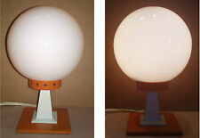 Lampe de bureau métal orange vintage ancienne boule blanche former desk lamp