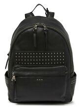 John Varvatos Star USA Men's Studded Leather Backpack Zip Front Pocket Black