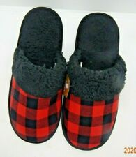 Gertex Mens Red/Black Plaid Scuff Slippers Lined Size M/L