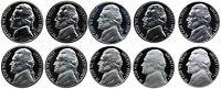 1970-1979 S Complete Set Jefferson Nickel Gem Proof Run 10 Coins US Mint 1970's