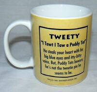 LINYI 9 OZ 1991 VINTAGE TWEETY BIRD COFFEE MUG CUP I TAWT I TAW A PUDDY TAT
