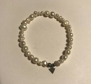 "SILPADA - B1601 - Pearl & Sterling Silver ""Goddess"" Stretch Bracelet - SINGLE"