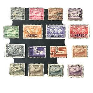 ECUADOR, SCOTT # C8-C12(5)+C39-C42(4)+C49/C50(2)+C51/C52(2),1929-36 AIR ISS USED