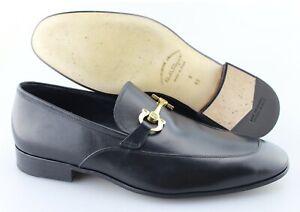 Men's SALVATORE FERRAGAMO 'Gancini' Black Leather Loafers Size US 9 - 2E