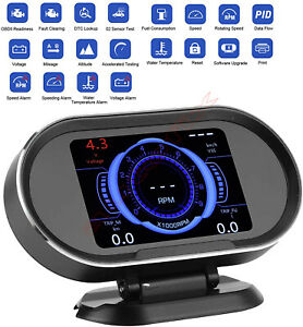 Car Speedometer Head Up Display OBD2 Fault Read Clear Tool Overspeed Warning HUD