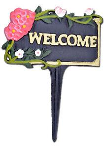"Welcome Garden Sign Pink Flowers Black Cast Iron Yard Plaque Flower Bed 7"" W N"