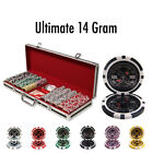 New 500 Ultimate 14g Clay Poker Chips Set with Black Aluminum Case - Pick Chips!