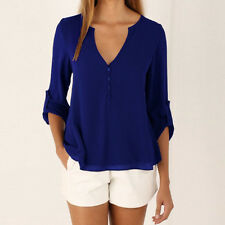 From UK Womens Summer Chiffon Casual Long Sleeve Tee T Shirts Blouse Tops Loose