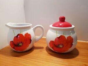 Rayware Alpine Poppy Milk Jug (Creamer) and Sugar Bowl set ref1Z95