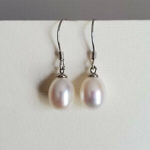 Pearl Drop Earrings AAA White 8 mm Cultured Freshwater Pearl Sterling Silver