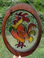 Vintage Stained Glass Oval Rooster Chicken Window Hanging Wood Frame, 2 Avail!