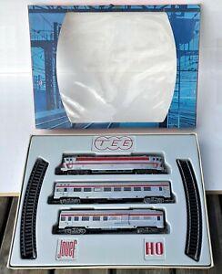 Train HO Jouef M 75 E Coffret TEE CC 40101 2 wagons 12 rails Trans Europ Express