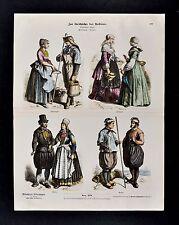 1880 Braun Costume Print Dutch Folk Dress Schevenigen Frisia Marken Fashion