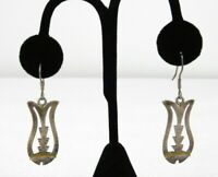 Vintage Taxco Cut Out Fish Sterling Silver Dangle Earrings Mexico 925 TH-53