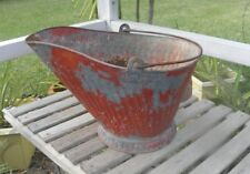 Vtg Coal Hod Scuttle RED Ash Bucket Galvanized Metal Ribbed Primitive Barn Find