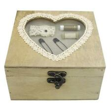 Sewing Box Heart Window Antique Look Small Size Lace 3 Compartment Bow Catch