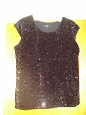 Massimo Women's Size Large Black Sequin Holiday Top Shirt BEAUTIFUL!