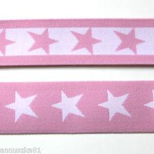 Gummiband Zartrosa Weiße Sterne 40mm breit - Gummibänder mit Sternen