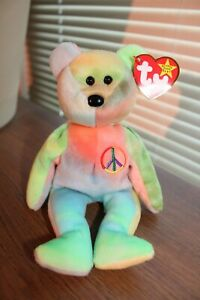 TY Peace Beanie Baby original, retired, pristine mint condition with tag errors