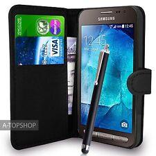 Portafoglio Nero Custodia PU Pelle Book Cover per Samsung Galaxy Xcover 3 g388f mobile