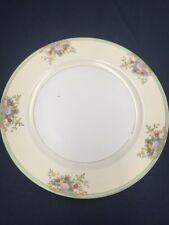"""Meito China Mei190 Hand Painted Dinner Plate 10"""" Japan Flowers Green Rim"""