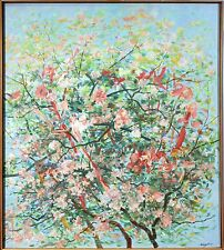 20th Century Oil on Canvas Cherry Blossom Trees Painting by Sidney Loeb