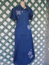 JANE ASHLEY DENIM BEADED TOP BEADED MAXI DRESS SET L CAREER WEDDING PARTY CHURCH