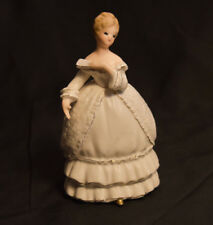Vintage Napco Ware Lady Figurine Southern Belle White Dress & Fan C5942