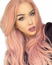 Orange Pink Lace Wig Mixed Color Glueless Long Natural Wavy Middle Part Syntheti