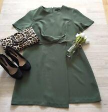 Topshop Sz 16 Khaki Green Drape Dress Career Occasion