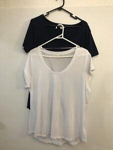 Witchery 2 X Tshirt 1 White 1 Navy Size Xl Cotton Exc Condition