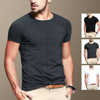 Mens T-Shirt Crew Neck Short Sleeve Tee Exposed Seam Basic Colour Stretch Fitted