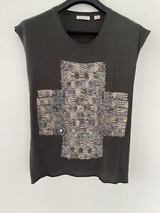 Sass & Bide Designer Cotton/Linen Embellished T Shirt Size XS Charcoal