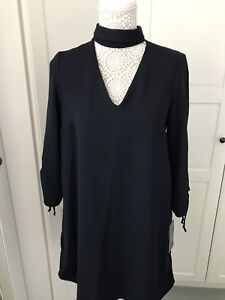 Stunning Zara Basic Collection V Neck Choker Dress With Ruched Sleeves Size M