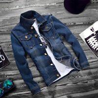 Men's Blue Jean Jacket Washed Denim Slim Fit Vest Spring Coat Top Ove
