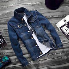 New Mens Blue Jean Jacket Washed Denim Slim Fits Vest Spring Coat Top Overcoat