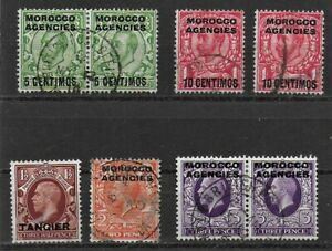 Morocco Agencies 1913 to 1945 KGV Definitives selection - 8 used stamps