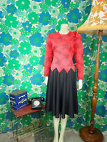 A99 Vintage Dress Red Black 1980's Size 12 14 Party Dress