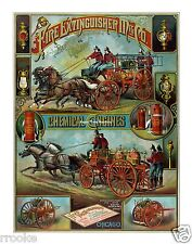 Fire Extinguisher Manufacturing Co FIREMEN Firefighters Fine Art Print / Poster
