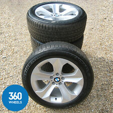 "GENUINE BMW X6 E71 E72 19"" STAR SPOKE 232 ALLOY WHEELS CONTINENTAL TYRES"