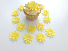 14 Edible Yellow 3d Flowers Pre Cut Wafer Cupcake Toppers