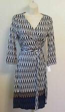 Diane von Furstenberg New Julian two Modern Harlequin wrap dress 10 black white