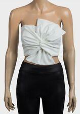 Woman Ladies Top Blouse Shirt Strapless Elastic Ivory White Bow Boob Tube Top